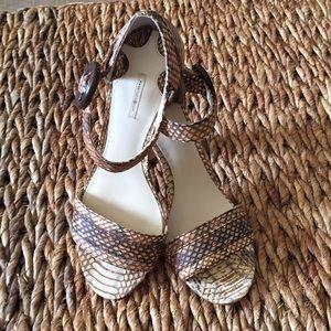 Max Studio heels. Cream/brown snakeskin. Size 6.5